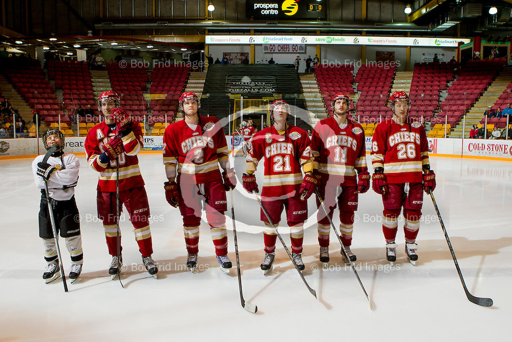 01 March 2014:   Mathieu Tibbet (20) of the Chiefs, Kiefer McNaughton (2) of the Chiefs, Tanner Cochrane (21) of the Chiefs , Andrew Silard (11) of the Chiefs, Cody Bardock (26) of the Chiefs during a game between the Chilliwack Chiefs and the Coquitlam Express at Prospera Centre, Chilliwack, BC.    ****(Photo by Bob Frid - All Rights Reserved 2014): mobile: 778-834-2455 : email: bob.frid@shaw.ca ****