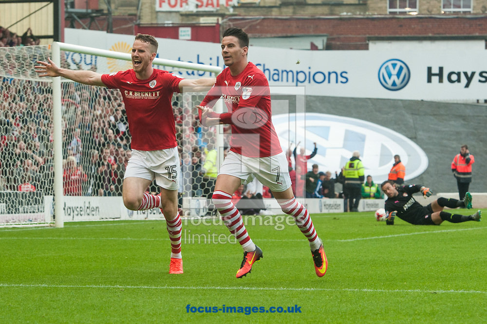 Adam Hammill of Barnsley (centre) turns to celebrate after scoring his sides second goal during the Sky Bet Championship match at Oakwell, Barnsley<br /> Picture by Matt Wilkinson/Focus Images Ltd 07814 960751<br /> 27/08/2016