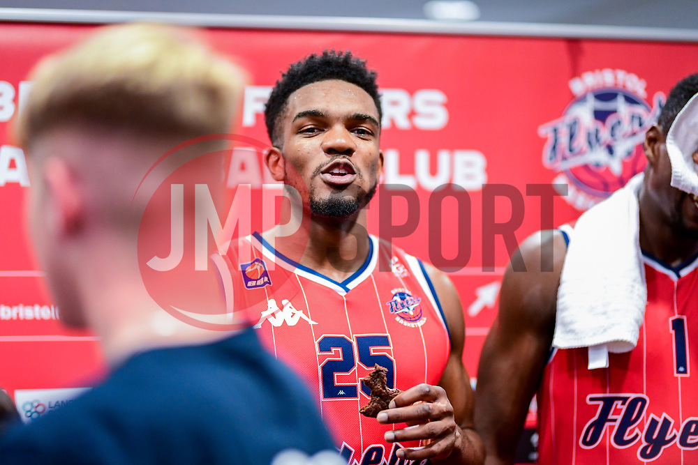 Marcus Delpeche of Bristol Flyers after the final whistle of the match - Photo mandatory by-line: Ryan Hiscott/JMP - 03/11/2018 - BASKETBALL - SGS Wise Arena - Bristol, England - Bristol Flyers v Newcastle Eagles - British Basketball League Championship