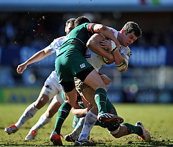 Ian Whitten of Exeter Chiefs takes on the Leicester Tigers defence - Photo mandatory by-line: Patrick Khachfe/JMP - Mobile: 07966 386802 28/03/2015 - SPORT - RUGBY UNION - Leicester - Welford Road - Leicester Tigers v Exeter Chiefs - Aviva Premiership