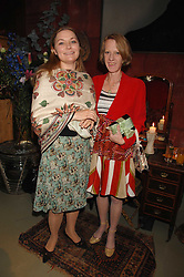 left to right, ANASTASIA BROZLER and CELIA LYTTELTON at a party to celebrate the publication of 'The Scent Trail' by Celia Lyttelton held at the London Studio of Paul Benney, 760 Harrow Road, London NW10 on 10th July 2007.<br />