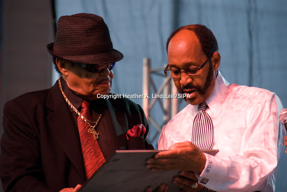 10th July 2009 - Gary, IN..Michael Jackson's father Joe Jackson made an appearance and accepted a stone plaque from Mayor Rudy Clay of Gary IN, in honor of Michael.  Over thirty members of the Jackson family attended...More than 6,000 people attended Michael Jackson's memorial service in his hometown took place at the Steel yard, Gary's minor league baseball park...Photo Credit: Heather A. Lindquist/SIPA...