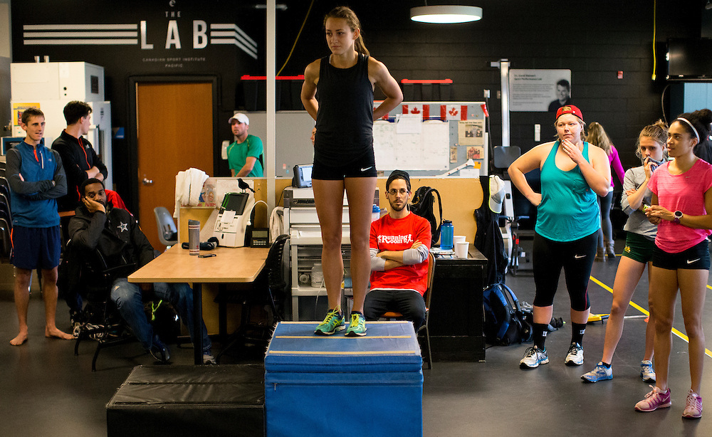Samantha Murphy's reactive strength index is tested with a drop jump to measure neuromuscular explosiveness and tendon stiffness at the Pacific Institute for Sport Excellence on December 3rd, 2015 in Victoria, British Columbia Canada.