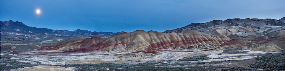 Painted Hills Unit, Overlook Trail, John Day Fossil Beds National Monument, Oregon, USA. John Day Fossil Beds preserves layers of fossil plants and mammals that lived between the late Eocene, about 45 million years ago, and the late Miocene, about 5 million years ago. The panorama was stitched from 5 overlapping photos.
