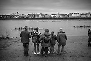 London. United Kingdom, Spectators watch the race from the Barnes Bridge RC.slipway, during the 2018 Women's Head of the River Race.  location Barnes Bridge, Championship Course, Putney to Mortlake. River Thames, <br />