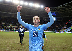 """Coventry City's Jordan Shipley celebrates victory after the FA Cup, third round match at the Ricoh Arena, Coventry. PRESS ASSOCIATION Photo. Picture date: Saturday January 6, 2018. See PA story SOCCER Coventry. Photo credit should read: Nigel French/PA Wire. RESTRICTIONS: EDITORIAL USE ONLY No use with unauthorised audio, video, data, fixture lists, club/league logos or """"live"""" services. Online in-match use limited to 75 images, no video emulation. No use in betting, games or single club/league/player publications."""