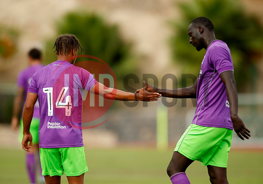 Famara Diedhiou of Bristol City celebrates with Bobby Reid of Bristol City - Mandatory by-line: Matt McNulty/JMP - 22/07/2017 - FOOTBALL - Tenerife Top Training - Costa Adeje, Tenerife - Bristol City v Atletico Union Guimar  - Pre-Season Friendly