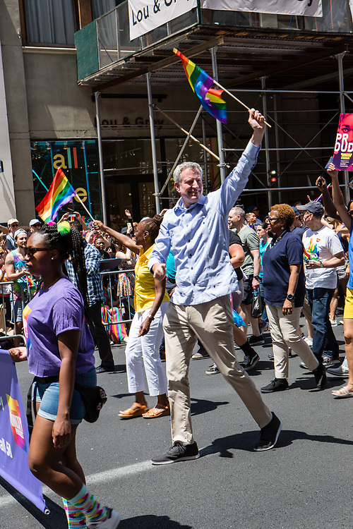New York, NY - 30 June 2019. The New York City Heritage of Pride March filled Fifth Avenue for hours with participants from the LGBTQ community and it's supporters. New York City Mayor Bill De Blasio and his wife Chirlane McCray show their support for the LGBTQ community by participating in the march.