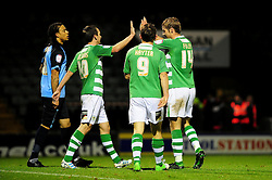 Yeovil Town's Sam Foley celebrates his goal with team mates - Photo mandatory by-line: Dougie Allward/JMP  - Tel: Mobile:07966 386802 04/12/2012 - SPORT - FOOTBALL - Johnstone's Paint Trophy  -  Yeovil  -  Huish Park  -  Yeovil Town V Wycombe Wanderers