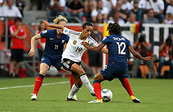 05.07.2011, Borussia-Park, Moenchengladbach, GER, FIFA Women Worldcup 2011, Gruppe A,  Frankreich (FRA) Deutschland (GER) ,. im Bild Fatmire Bajramaj (GER) gegen Laure Lepailleur und Elodie Thomis (beide FRA) . // during the FIFA Women´s Worldcup 2011, Pool A,France vs Germany on 2011/06/26, Borussia-Park, Moenchengladbach, Germany. EXPA Pictures © 2011, PhotoCredit: EXPA/ nph/  Karina Hessland       ****** out of GER / CRO  / BEL ******
