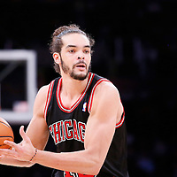 09 February 2014: Chicago Bulls center Joakim Noah (13) looks to pass the ball during the Chicago Bulls 92-86 victory over the Los Angeles Lakers at the Staples Center, Los Angeles, California, USA.
