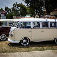 A pair of split window Volkswagen Kombi's at the AAP Open Day.