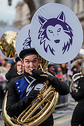 The Howllin Husky High School Marching Band - The New Years Day parade passes through central London.