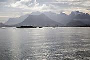Jagged rocky mountain near Svolvaer, Lofoten islands, Nordland, Norway