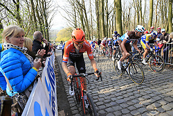 Riders including Lars Boom (NED) Roompot-Charles on the 2nd ascent of the Kemmelberg during the 2019 Gent-Wevelgem in Flanders Fields running 252km from Deinze to Wevelgem, Belgium. 31st March 2019.<br /> Picture: Eoin Clarke | Cyclefile<br /> <br /> All photos usage must carry mandatory copyright credit (© Cyclefile | Eoin Clarke)