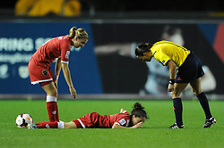 Bristol Academy Womens' Laura Del Rio Garcia goes down injured - Photo mandatory by-line: Dougie Allward/JMP - Mobile: 07966 386802 - 13/11/2014 - SPORT - Football - Bristol - Ashton Gate - Bristol Academy Womens FC v FC Barcelona - Women's Champions League