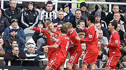 NEWCASTLE, ENGLAND - Sunday, February 3, 2008: Middlesbrough's Robert Huth celebrates scoring the equaliser against Newcastle United during the Premiership match at St James' Park. (Photo by David Rawcliffe/Propaganda)