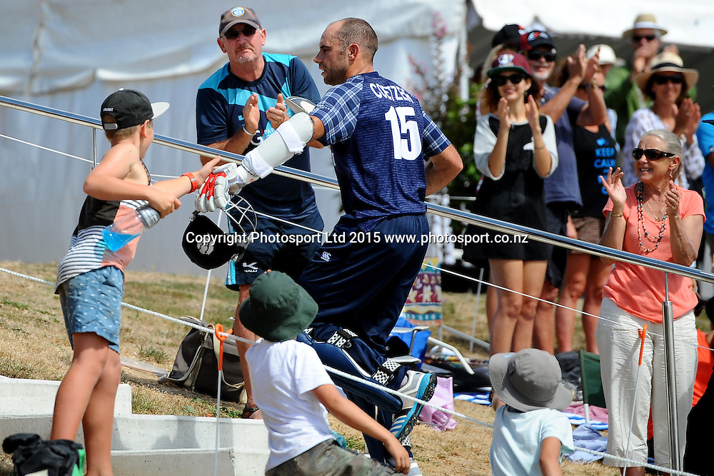 Fans congratulate Kyle Coetzer after he scored 156 runs during the 2015 ICC Cricket World Cup match between Bangladesh v Scotland. Saxton Oval, Nelson, New Zealand. Thursday 5 March 2015. Copyright Photo: Chris Symes / www.photosport.co.nz