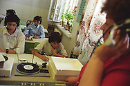 School children listen to foreign language lessons on records, in 'School Number 21', in Dushanbe., Tajikistan.