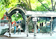Pergola at Pioneer Square. Seattle, WA. Watercolor.  ©JoAnn Hawkins.