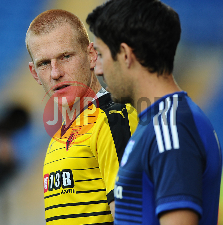 Ben Watson of Watford and Peter Whittingham of Cardiff City  - Mandatory by-line: Joe Meredith/JMP - 07966386802 - 28/07/2015 - SPORT - FOOTBALL - Cardiff,Wales - Cardiff City Stadium - Cardiff City v Watford - Pre-Season Friendly