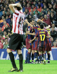 25.09.2010, San Mames, Bilbao, ESP, Primera Division, Athletic Bilbao vs FC Barcelona, im Bild FC Barcelona's players celebrate goal during La Liga match. EXPA Pictures © 2010, PhotoCredit: EXPA/ Alterphotos/ Acero +++++ ATTENTION - OUT OF SPAIN / ESP +++++