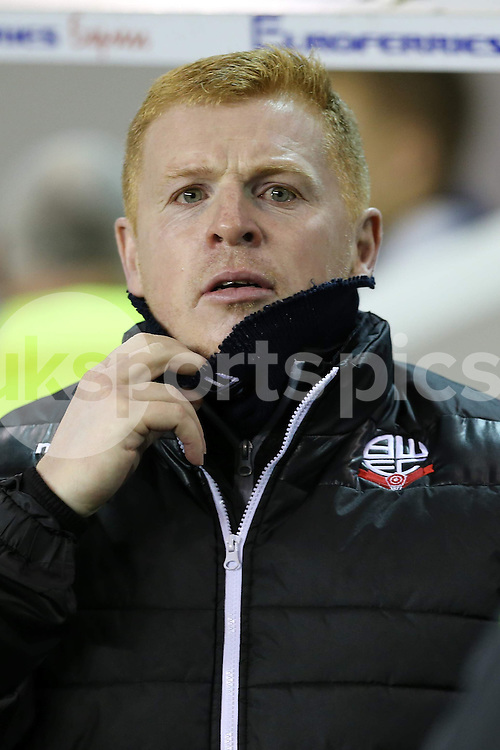 Bolton boss Neil Lennon during the Sky Bet Championship match between Millwall and Bolton Wanderers at The Den, London, England on 19 December 2014. Photo by Dave Peters.