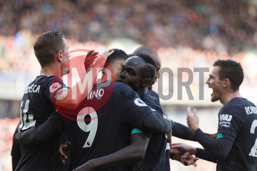 Sadio Mane of Liverpool (C) celebrates after scoring his sides second goal - Mandatory by-line: Jack Phillips/JMP - 31/08/2019 - FOOTBALL - Turf Moor - Burnley, England - Burnley v Liverpool - English Premier League