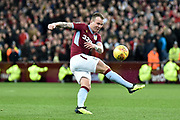 Aston Villa midfielder Glenn Whelan (6) takes a shot at goal during the EFL Sky Bet Championship match between Aston Villa and Nottingham Forest at Villa Park, Birmingham, England on 28 November 2018.
