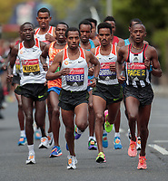 The leaders move away from Blackheath in the Elite Men's Race. The Virgin Money London Marathon, 23rd April 2017.<br /> <br /> Photo: Jed Leicester for Virgin Money London Marathon<br /> <br /> For further information: media@londonmarathonevents.co.uk