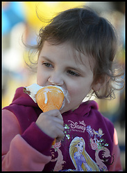 Yasmin Parsons enjoys an Ice cream in the hot weather in Southend, United Kingdom. Sunday, 9th March 2014. Picture by Andrew Parsons / i-Images
