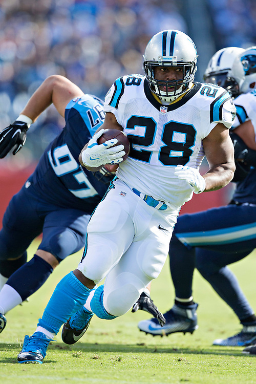 NASHVILLE, TN - NOVEMBER 15:  Jonathan Stewart #28 of the Carolina Panthers runs the ball during a game against the Tennessee Titans at Nissan Stadium on November 15, 2015 in Nashville, Tennessee.  (Photo by Wesley Hitt/Getty Images) *** Local Caption *** Jonathan Stewart