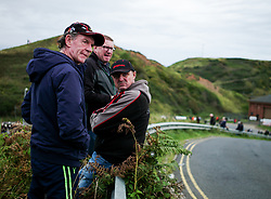 &copy; Licensed to London News Pictures. <br /> 10/09/2017 <br /> Saltburn by the Sea, UK.  <br /> <br /> Spectators wait between heats during the annual Saltburn by the Sea Historic Gathering and Hill Climb event. Organised by Middlesbrough and District Motor Club the event brings together owners of a wide range of classic cars and motorcycles dating from the early 1900's to 1975. Participants take part in a hill climb to test their machines up a steep hill near the town. Once held as a competitive gathering a change in road regulations forced the hill climb to become a non-competitive event.<br /> <br /> Photo credit: Ian Forsyth/LNP