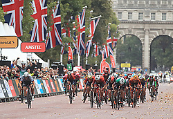 Team Bora Hansgrohe's Pascal Ackermann (left) wins the Prudential RideLondon Surrey Classic during day two of the Prudential Ride London.