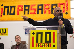 London, UK. 2nd March, 2019. Asad Rehman, Executive Director at War on Want, addresses the ¡No Pasaran! Confronting the Rise of the Far-Right conference at Bloomsbury Central.