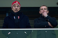 (L) Zbigniew Boniek - President of Polish Football Federation and (R) Marek Kozminski - Vice President of Polish Football Federation on VIP stage during the 2014 World Cup Qualifying Group H soccer match between Poland and San Marino at National Stadium in Warsaw on March 26, 2013...Poland, Warsaw, March 26, 2013...Picture also available in RAW (NEF) or TIFF format on special request...For editorial use only. Any commercial or promotional use requires permission...Photo by © Adam Nurkiewicz / Mediasport