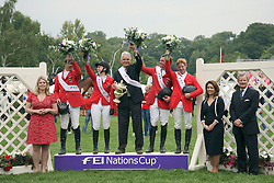 Team Germany winner of The FEI Nations Cup of England<br /> Bunn Daisy (director CSIO Hickstead), Wulschner Holger, Meyer Janne Frederieke, chef d'equipe Sonke Sonksen, Weishaupt Philippe, Ehning Markus, FEI President HRH Princess Haya, Finding Andres (British Equestrian Federation)<br /> The Longines Royal International Horse Show Hickstead 2011<br /> © Hippo Foto - Beatrice Scudo