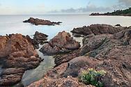 Die rote Porphyr-Küste des Esterel-Gebirges zwischen St. Raphaël und Cannes an einem gewittrigen Abend im Mai. Abschnitt zwischen den beiden Ortschaften Le Trayas und Le Trayas Supérieur