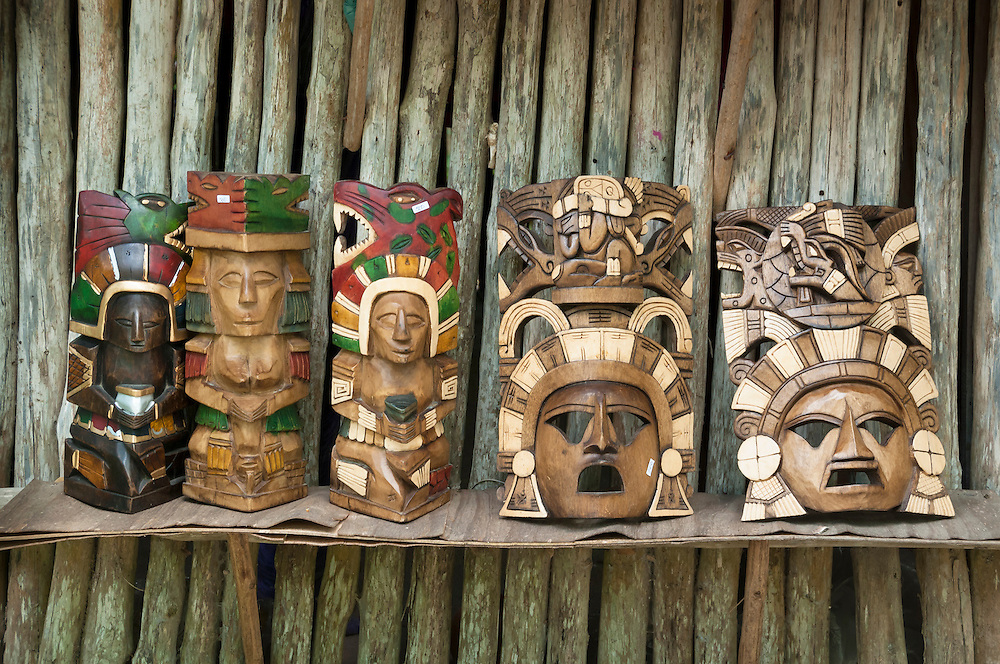 Wooden carvings for sale at Tres Reyes Maya village, Riviera Maya, Mexico.