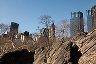 New York , central park and Time warner twin towers  New York - United states