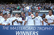 'Twickenham - Sunday 30 May, 2010: Nick Easter holds the Mastercard Trophy aloft after England beat the Barbarians 35-26 during the match between England and the Barbarians at Twickenham. (Pic by Andrew Tobin/Focus Images)