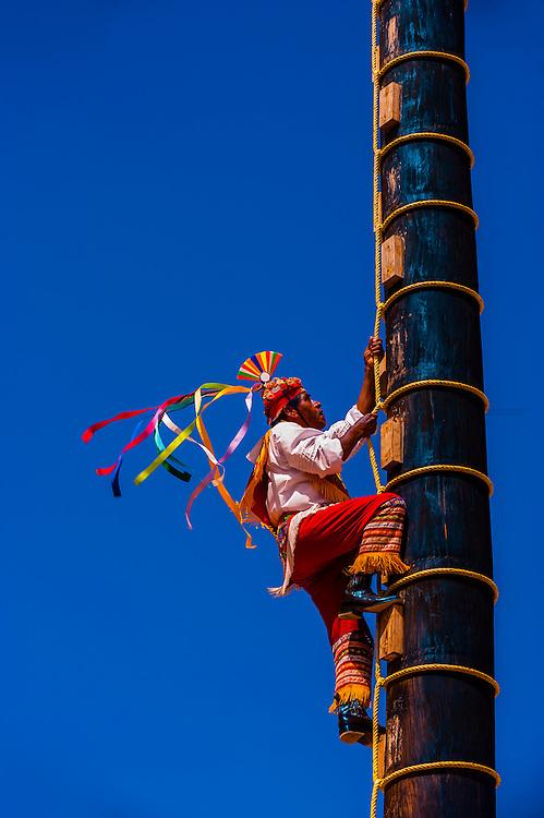 Papantla flyers (Voladores de Papantla), Xcaret Park (Eco-archaeological Theme park), Riviera Maya, Quintana Roo, Mexico