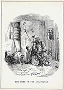 The Home of the Rick-Burner':  Cartoon by John Leech from 'Punch', London, February 1844, showing the poverty-stricken living conditions of the agricultural labourer. Low wages and fear of unemployment due to introduction of farm machinery forced men to turn to rick burning and machine breaking.