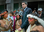 The Steven Donziger of New York, a lawyer who represents 30,000 rain forest residents suing ChevronTexaco makes his way out from the courthouse in Lago Agrio, Ecuador. Amid a crowd of Huaorani Indians who are his clients. The Indians claim massive pollution from the oil company. Picture taken in Ecuador,