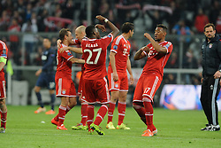 09.04.2014, Allianz Arena, Muenchen, GER, UEFA CL, FC Bayern Muenchen vs Manchester United, Viertelfinale, Rueckspiel, im Bild David Alaba (FC Bayern Muenchen) und Jerome Boateng (FC Bayern Muenchen) beim Freudentanz. // during the UEFA Champions League Round of 8, 2nd Leg match between FC Bayern Muenchen and Manchester United at the Allianz Arena in Muenchen, Germany on 2014/04/09. EXPA Pictures © 2014, PhotoCredit: EXPA/ Eibner-Pressefoto/ Stuetzle<br /> <br /> *****ATTENTION - OUT of GER*****