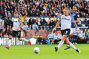 Derby County forward Martyn Waghorn (9) shoots and scores a goal 2-0 during the EFL Sky Bet Championship match between Derby County and Birmingham City at the Pride Park, Derby, England on 28 September 2019.