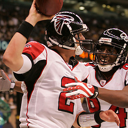 2008 December, 07: Atlanta Falcons quarterback Matt Ryan (2) celebrates with teammate Roddy White (84) after scrambling in for a touchdown during a 29-26 victory by the New Orleans Saints over NFC South divisional rivals the Atlanta Falcons at the Louisiana Superdome in New Orleans, LA.