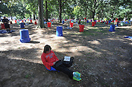 Mississippi fan Jane Nalty reserves her tailgating spot in the Grove at the University of Mississippi in Oxford, Miss. on Friday, October 3, 2014.  Mississippi plays host to Alabama on Saturday. (AP Photo/Oxford Eagle, Bruce Newman)