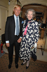 RAINE, COUNTESS SPENCER and PHILIP VERGEYLEN DE MAESENEER at a reception to celebrate the launch of Prince Dimitri of Yugoslavia's one-of-a-kind jeweleery collection held at Partridge Fine Art, 144-146 New Bond Street, London on 11th June 2008.<br />