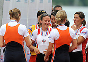 Lucerne, SWITZERLAND. NED and CAN LW2X, chat on the awards dock after the medal ceremony, at the 2008 FISA World Cup Regatta, Round 2.  Lake Rotsee, on Sunday, 01/06/2008.  [Mandatory Credit:  Peter Spurrier/Intersport Images].Lucerne International Regatta. Rowing Course, Lake Rottsee, Lucerne, SWITZERLAND.